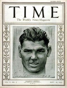 "Boxer Jack Dempsey, nicknamed the ""The Manassa Mauler,"" was the first athlete to appear on the cover of TIME, September 10, 1923. http://ti.me/5MZZFc"