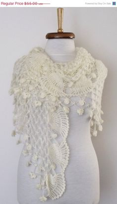 BLACK FRIDAY SALE Jasmine Ivory Bridal Shawl Wrap  by knittingshop, $49.50