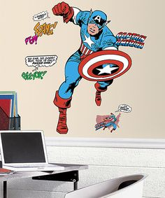 Love this Classic Captain America Comic Peel & Stick Giant Wall Decal by RoomMates on #zulily! #zulilyfinds