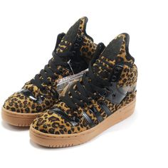 Jeremy Scott Leopard Black Yellow Girls G50690 ❤ liked on Polyvore featuring shoes