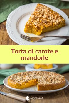 Torta di carote e mandorle vegana Raw Food Recipes, Sweet Recipes, Cake Recipes, Dessert Recipes, Healthy Recipes, Vegan Sweets, Vegan Desserts, Tortillas Veganas, Vegan Cake