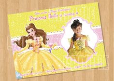 Disney Princess Belle - Beauty and the Beast Birthday Party Invitation by supercuteparty www.etsy.com/shop/supercuteparty, $8.00