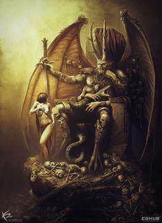 "World Of Fantasy Art - ""Demon Lord"" by Ken Barthelmey Demon Art, Fantasy Demon, Dark Fantasy Art, Monster Art, Fantasy Monster, Dark Creatures, Fantasy Creatures, Arte Horror, Horror Art"