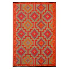 Fab Habitat Lhasa Indoor Outdoor Rug In Orange With Violet