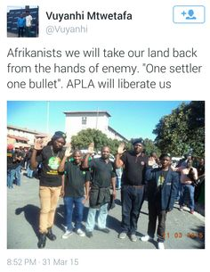 ONE SETTLER ONE BULLET INCITEMENT TO KILL SOUTH AFRICAN WHITES.....  White Genocide in South Africa