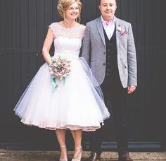 Tea length wedding dress,vintage inspired wedding dress,polka dot wedding dress,1950s style wedding dress,WD008