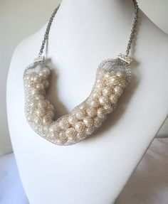 Cream Pearl Beads Wire Mesh Necklace by ZulliAccessories on Etsy, $30.00