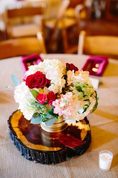 Pink & red flower, gold can, wedding centerpiece