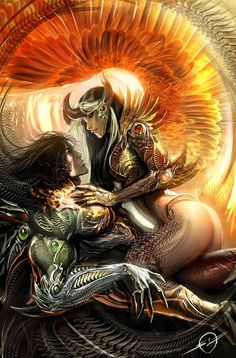 Image Comics , The Darkness , The Angelus Dark Fantasy Art, Fantasy Love, Fantasy Artwork, Fantasy World, Comic Books Art, Comic Art, Book Art, Elfen Fantasy, Fantasy Couples