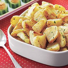 English Roast Potatoes Recipe - English dishes are often described as being simple and straightforward, and this 4-ingredient recipe for roasted potatoes is no exception. It's the perfect side dish for roast beef or leg of lamb. Makes 8 servings.