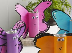 Paper Roll Spring Butterflies with wigglie eyes and fuzzy sticks for antennas.