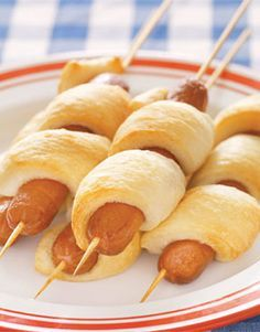 Keep the mess to a minimum with this fun variation on the frankfurter. Recipe: Hot Dog on a Stick   - CountryLiving.com