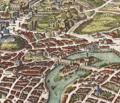Old Map of Rome Roma, Italy 1652 Antique Vintage Italy