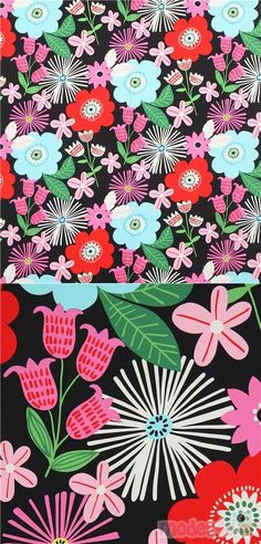 "black heavy oxford cotton fabric with flowers in red, light blue, pink etc., Material: 100% cotton, Fabric Type: heavy oxford cotton fabric, Fabric Width: 114cm (45"") #Oxford #Flower #Leaf #Plants #USAFabrics"