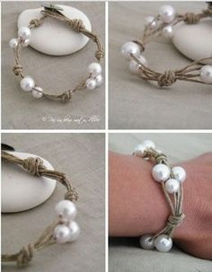 LinenTwine & Pearl Bracelet with Mother of Pearl Button for Closure ~ DIY-able using vintage costume jewelry pearls & button - (from unbomatindhiver) #costumejewelrycrafts #bohopearls