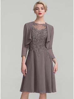 Vestidos princesa/ Formato A Decote redondo Coquetel Tecido de seda Renda Vestido para a mãe da noiva