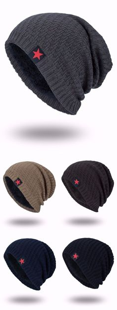 Star Label Embellished Stripy Thicken Knit Hat