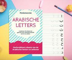 Het Arabisch alfabet leren schrijven is voor kinderen niet altijd even makkelijk. Daarom bied ik deze printable aan om de Arabische letters te oefenen. Ramadan, Biscuits, Food And Drink, Chart, Blog, Kids, Islam, Template, Desserts