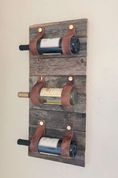 DIY Wood and Leather Wine Rack! Easy and fun project with free plans and how-to video at www.shanty-2-chic.com