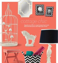 Upgrade your office in a snap by peppering in stark black and white pieces with bright pops of color. #Decor #Office