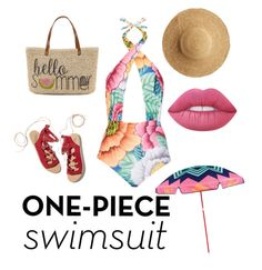 """""""SUMMERTIME"""" by lizag34 on Polyvore featuring Mara Hoffman, Ancient Greek Sandals, Straw Studios, Flora Bella, Lime Crime, Sunnylife and onepieceswimsuit"""