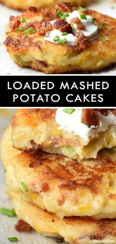 These Loaded Mashed Potato Cakes are your favorite twice baked potato in patty form, and the best use of leftover mashed potatoes! potato al horno asadas fritas recetas diet diet plan diet recipes recipes Loaded Mashed Potatoes, Leftover Mashed Potatoes, Mashed Potato Recipes, Twice Baked Potatoes, Potatoe Cakes Recipe, Mashed Potato Patties, Loaded Potato, Cheesy Potatoes, Mashed Potato Fritters Recipe