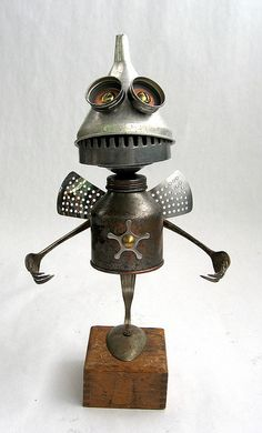 Fry - Found Object Robot Assemblage Sculpture by Brian Marshall by adopt-a-bot, via Flickr