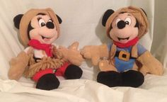 "Walt Disney World 8"" Plush Frontierland Mickey Minnie Mouse Cowboy Cowgirl Rodeo #WaltDisneyWorld"