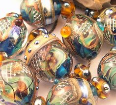 "DAVID SIVERS ~""WATER SONG""~Handmade Lampwork Bead Set~SRA"