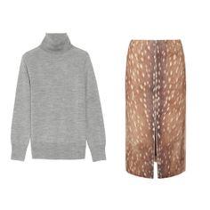 J Crew merino turtleneck and Carven faun print skirt | Winter 2013
