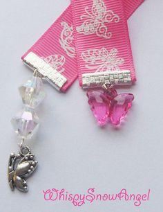 Pink Butterfly Ribbon Bookmark Delicate by WhispySnowAngel on Etsy, $5.00