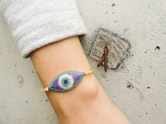 All seeing eye bracelet silver evil eye bracelet by Handemadeit