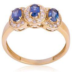 Anel em Ouro Amarelo com Safiras Azuis e Diamantes