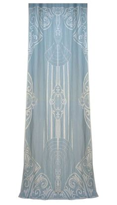 The PARISIENNE curtain panel, by Sue Wong for EnglishHome.com. Linen blend with taffeta applique and embroidered detail.