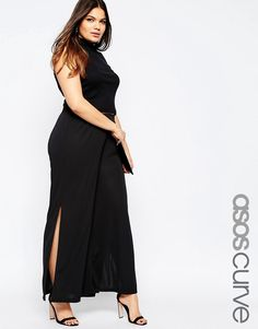Image 1 of ASOS CURVE Wide Leg Pant with Side Split in Crepe