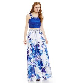 Masquerade Bead Lace Floral Skirt 2-Piece Gown Two Piece Gown d5cdee4834a2
