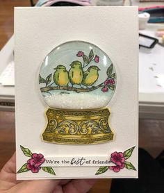 """Krazy Kat Kylie on Instagram: """"Using the Still Scenes snow globe for a non Christmasy card. Back to my beautiful birdies! . . #birdballad #birdballadstampset…"""" Christmas Globes, Snow Globes, Kylie, Slider Cards, Bird Cards, Stamping Up Cards, Animal Cards, Paper Cards, Homemade Cards"""