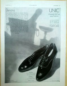 Original Vintage French Ad - Unic Shoes - Shoes for Men 1930 by reveriefrance on Etsy