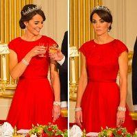 Shop Jenny Packham Chinese Red Gown as seen on Duchess of Cambridge. Copy Princess Kate's style with the best repliKate dresses for less! Dresses For Less, Formal Dresses, Kate Middleton Dress, Kate Dress, Red Gowns, Jenny Packham, Aso, Princess Kate, Prince William