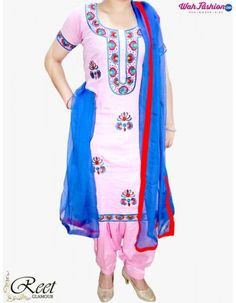 Give yourself a stylish & punjabi look with this Enthralling Pink & Blue Punjabi Suit. Embellished with embroidery work & lace work. Available with matching bottom & dupatta. It will make you noticable in special gathering. For more details whatsapp us: +919915178418