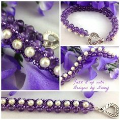 #Amethyst Purple and Cream Glass #Pearl #Handmade beaded bangle #bracelet by @Nancy Tonelli - Jazz It Up with Designs  #jazzitupwithdesignsbynancy #Jewelry on #diy #diy decorating ideas #hand made