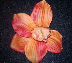 Orchid Orange orange orchid tropical flower tiki by msformaldehyde, $7.50