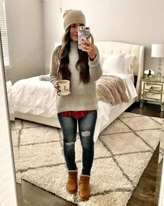 Winter flannel outfits, cold winter outfits, winter layering outfits, o Winter Layering Outfits, Casual Holiday Outfits, Winter Outfits For Teen Girls, Comfy Fall Outfits, Trendy Fall Outfits, Winter Fashion Outfits, Fall Winter Outfits, Look Fashion, Fashion Models
