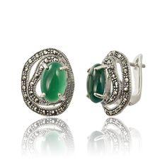 Cercei argint Latch Back Medii Agat+Marcasite Cod Marcasite, Cod, Agate, Gemstone Rings, Gemstones, Jewelry, Green, Cape Cod