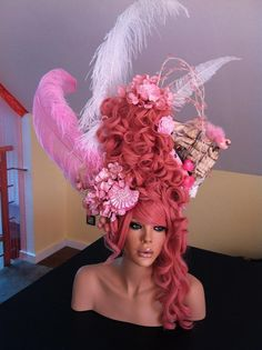 MADE TO ORDER Marie Antoinette Style WOW Headdress Wig halloween rocco victorian pink barbie burlesque princess queen. $699.00, via Etsy.