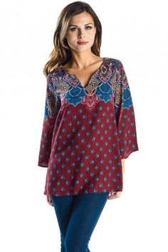 Feather Drop Print Blouse with Floral Border Print Detail, 3/4 Sleeve Woven V Neck Top