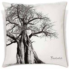 A beautiful black and white Baobab photograph digitally printed onto a soft, comfy cushion.