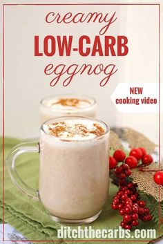 Indulgent and creamy sugar-free low-carb eggnog with brandy (optional). It is the perfect healthy recipe for the festive season to indulge and enjoy, with friends. | ditchthecarbs.com  It is the perfect healthy recipe for the festive season to indulge and enjoy, with friends.  via @ditchthecarbs