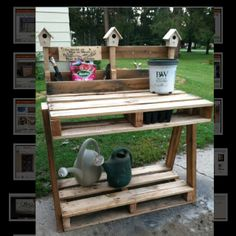 Pallets repurposed to make this gardening bench/potting station!