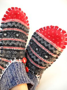 Felted Wool Slippers Women's Size 7/8 RePurposed by ReWoolables, SOLD